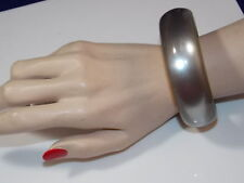 Vintage Chunky Silver Gray Thermoset Moonglow Wide Round Bangle Bracelet