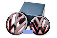 VW BLACK+RED FRONT GRILL REAR BOOT BADGES EMBLEMS GOLF MK7 MK VII GTI R TSI TDI