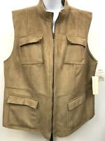 Harve Benard Vest Women's Sz 20 Shearling Faux Suede NEW Soft Warm Rustic Chic