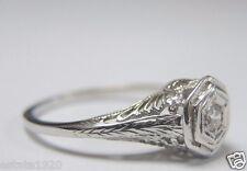 Antique Art Deco Vintage Diamond Engagement 18K White Gold Ring Size 5.5 EGL USA