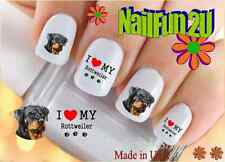 Nail Art 146A DOG BREED Love my Rottweiler WaterSlide Nail Decal Transfers Stick