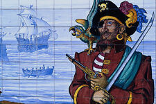 639092Tile Showing Pirate Scene Near Estepona Malaga Spain A4 Photo Print