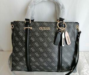 Brand New Guess black multi large satchel bag/shoulder bag + charm
