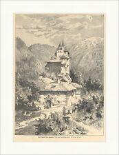 Die Einsiedelei San Romedio Dietrich Italien Südtirol Kloster Holzstich E 15869