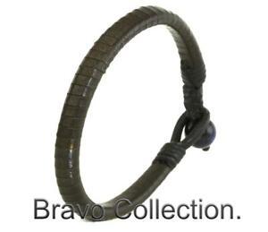 9AB-003 Finely Made Kangaroo Leather Blue Tigers Eye Women / Men ANKLET Bracelet