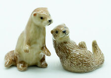 2 Otter Ceramic Figurine Animal Statue - Cfx006