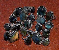 Bulk Lot 200 PCs. Natural LABRADORITE Gemstone 925 Sterling Silver Plated Ring
