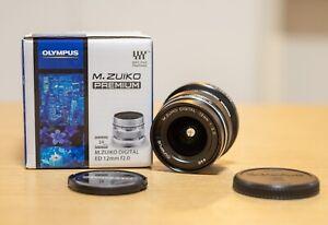 【As New】 Olympus M.Zuiko Digital ED 12mm f/2.0 Lens black m43 wide AU stock