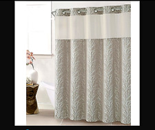 "Hookless Long Shower Curtain 71"" x 86"" Fabric Jacquard Tree Branch Taupe NWT"