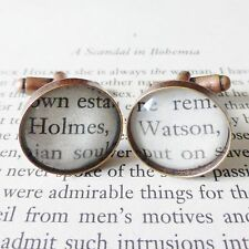 Quirky Sherlock Holmes + Dr Watson libro página Vidrio Gemelos Cobre Antiguo 18mm