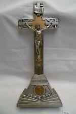 crucifix en laiton chromé des années 1930, art déco, à poser H: 27,2 cm  (AB11)