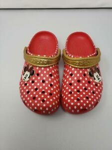 EUC Disney Minnie Mouse Red Polka Dot Gold Glitter Crocs shoes size 9 womenp