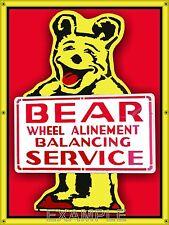 BEAR SERVICE WHEEL ALINEMENT OLD SCHOOL SIGN REMAKE BANNER GARAGE ART 4' X 3'