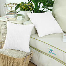 "2Pcs Sauare Cushion Covers Pillow Shells Corduroy Corn Striped White 20"" X 20"""