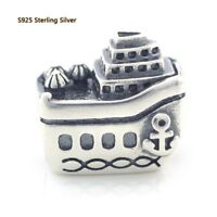 925 Sterling Silver Vacation All Aboard Cruise Ship Charm For European Bracelet