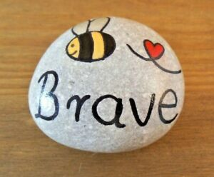 Pebble art and craft.Hand painted rocks, stones, 'Bee brave', unique gift