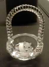 "Miniature 1 X 1/2"". Cat inside a basket,faceted Austrian Crystal.Cat lover item"
