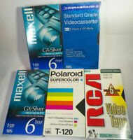 Lot of 5 NEW BLANK VHS MAXWELL,POLAROID,RCA T-120