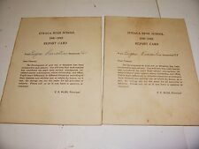LOT OF 2 VINTAGE SCHOOL YEAR 1941-1942 ITHACA HIGH SCHOOL REPORT CARDS