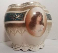 Antique Rare Art Nouveau Portrait Bowl Of Three Women Mz Austrian Collectible