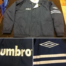 Vtg Umbro Men's Lined Athletic Jacket/coat Full Zip Medium Navy Blue Coach