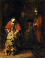 The Return of the Prodigal Son by Rembrandt. Religion Repro on Canvas or Paper