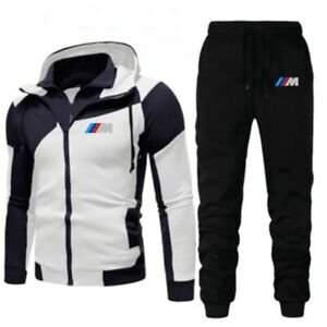 New BMW Men's Fashion Hooded Stitching Printed Jacket + Pants 2 Piece Suit