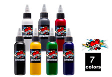 MOMS Tattoo Ink Sample Set of 7 Bright Colors 2 oz 60 ml Bottle Authentic USA