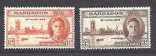 BARBADOS , 1946 , PEACE ISSUE , SET OF 2  , PERF , VLH