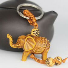 GN- 2Pcs Lucky Elephant Carving Pendant Keychain Key Ring Evil Defends Gift _GG