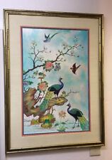 Original Art Deco Birds Peacock Flowers Painting Signed C Young Framed