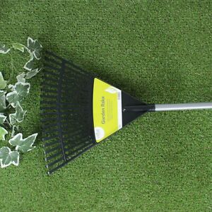 20 Tooth 1.6m Lawn Rake Plastic Head With Steel Handle Garden Grass Leaves Leaf