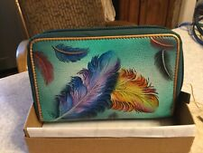 anuschka hand painted leather Wallet  new