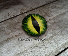 "Eye Cabochon Dragon Eye Cabochon 25mm 1"" Round Glass Cabochon Domed Green Yellow"
