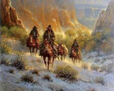 HD Art Canvas Print, Oil Painting Western Riders, Canyon A5924,16