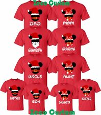Christmas MOM AND DAD T-SHIRTS MICKEY MINNIE DISNEY FAMILY NEW ALL SIZES RED
