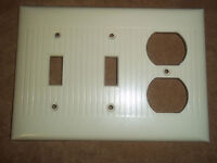 Vintage Double Switch outlet cover White Ribbed Ivory Color USA