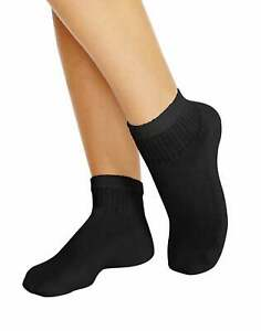 Women's Ankle Athletic Socks Pack of 10 Hanes Cushioned Black or White Cotton