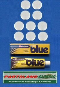 """Plated Core Plug 1.7/16"""" 36.5mm Cup Type 10 Pack including 40g Blue Hylomar Tube"""