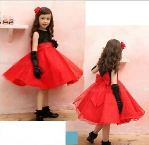 Girl Child Kid Party Formal Pageant Flower Birthday Wedding Dress RED SIZE 4
