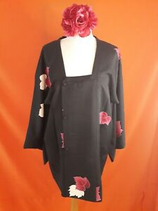 Vintage Original Japanese Michiyuki Jacket Black Silk