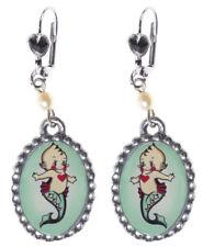 Mermaid Mer-Kewpie Earrings Classic Hardware, Nautical, Sea, Sourpuss, Brand New