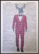 Stag Red Tartan Suit Vintage Dictionary Page Wall Art Picture Print Deer Hipster