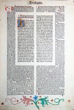 BIBEL BIBLIA LATINA BUCHMALEREI INKUNABELBLATT NIKOLAUS DE LYRA KOBERGER 1487