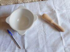Beau pilon Mortier de Cuisine en porcelaine avec Pilon Bois Blanc  1,2 kg