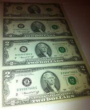 1976 Uncut Sheet 4 X $2 Crisp US 2 Dollars Uncirculated LEGAL MONEY GIFT BILLS.