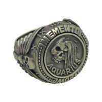 Aquarius sign Skull sterling silver biker masonic mens ring Memento Mori zodiac