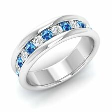 0.60 Ct Natural AAA Blue Topaz & G/SI Diamond Wedding Band Ring 14k White Gold