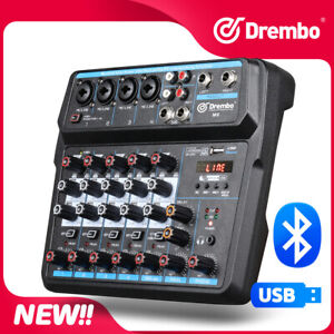 Drembo M-6 Mini Mixer Audio DJ Console  with Sound Card, USB, 48V Phantom Power