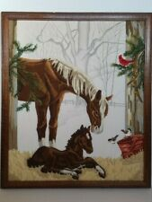 Completed Crewel Embroidery Horse Colt Cardinal Chickadees Winter Framed Picture